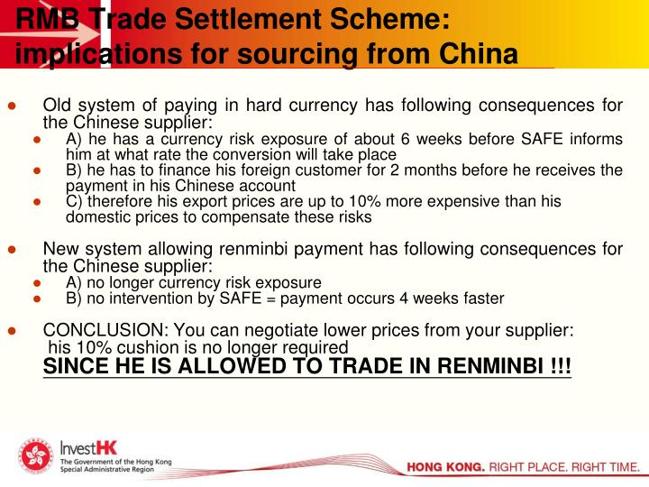 RMB Trade Settlement Scheme: implications for sourcing from China