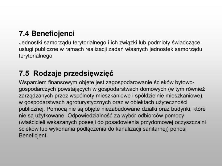 7.4 Beneficjenci