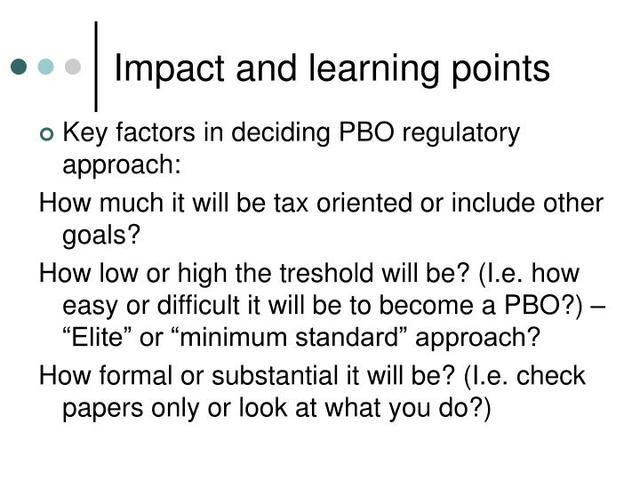 Impact and learning points