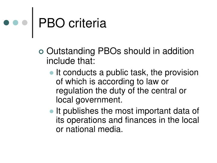 PBO criteria