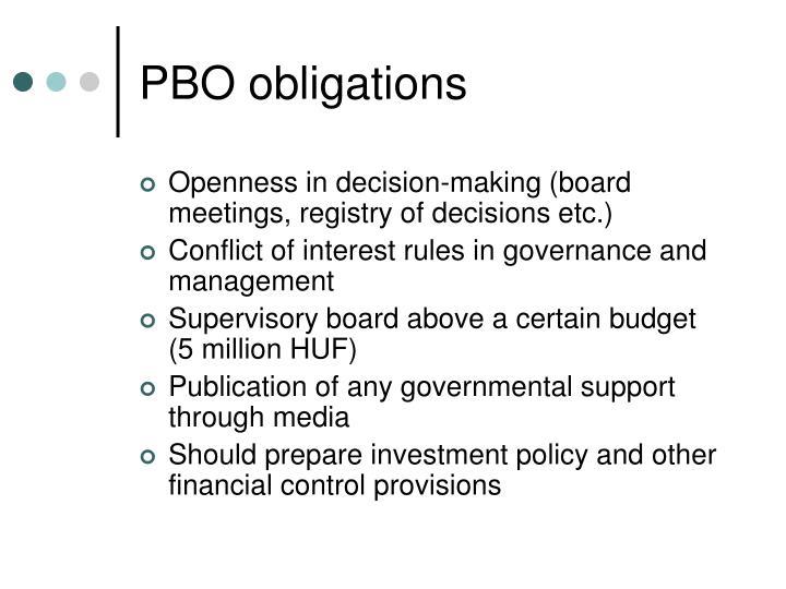 PBO obligations