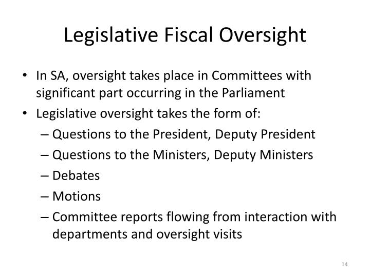 Legislative Fiscal Oversight