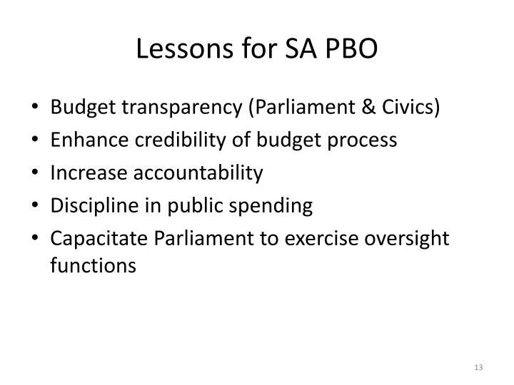 Lessons for SA PBO