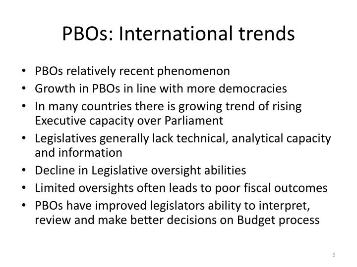 PBOs: International trends