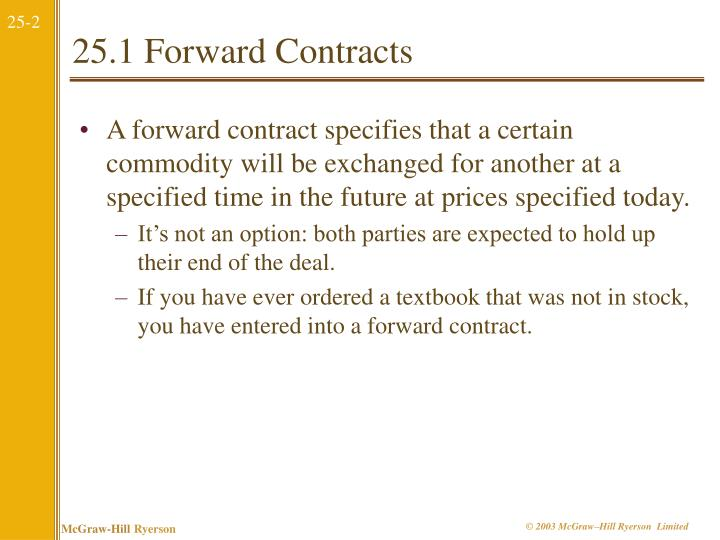 25.1 Forward Contracts