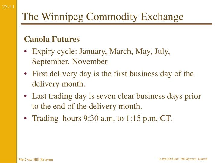The Winnipeg Commodity Exchange