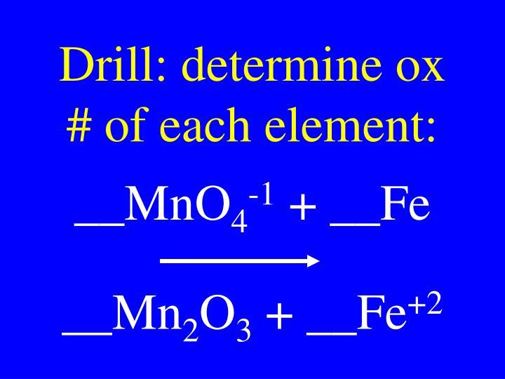 Drill: determine ox # of each element: