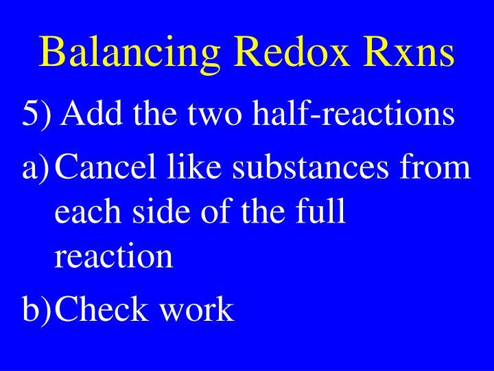 Balancing Redox Rxns