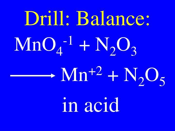 Drill: Balance: