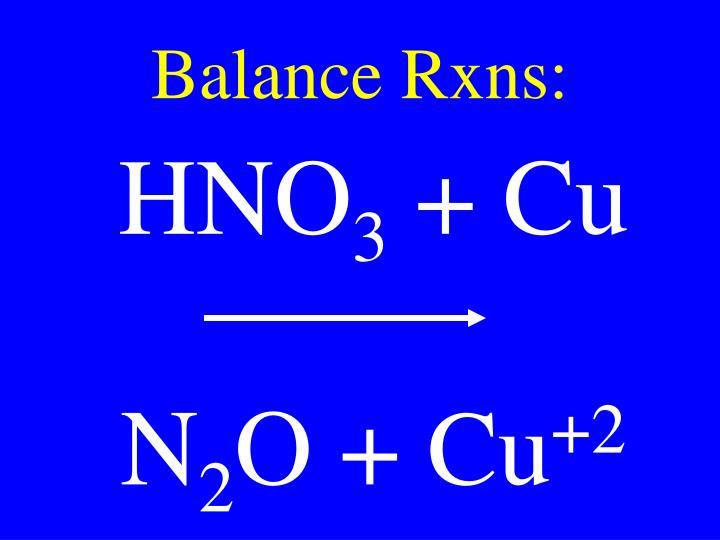 Balance Rxns: