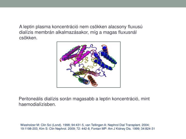 A leptin plasma koncentrci nem cskken alacsony fluxus dialzis membrn alkalmazsakor, mg a magas fluxusnl cskken.