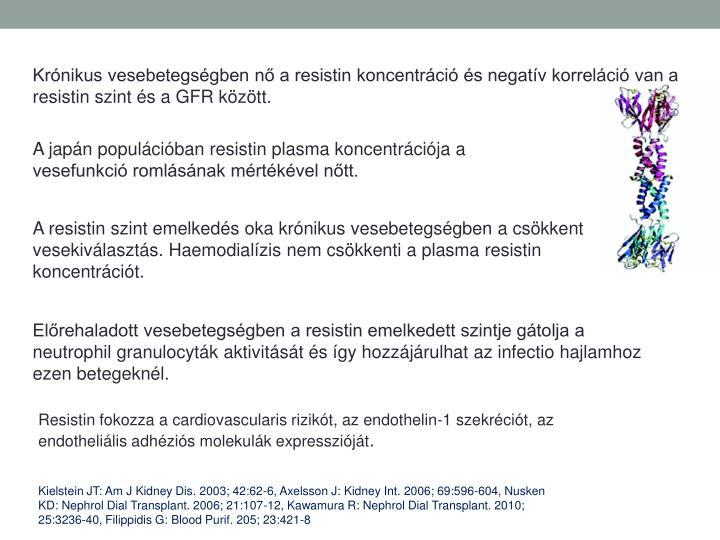 Krónikus vesebetegségben nő a resistin koncentráció és negatív korreláció van a resistin szint és a GFR között.
