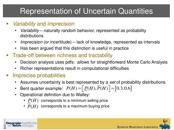 Representation of Uncertain Quantities