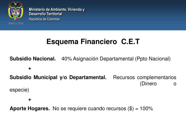 Esquema Financiero  C.E.T