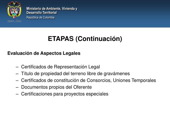 ETAPAS (Continuación)