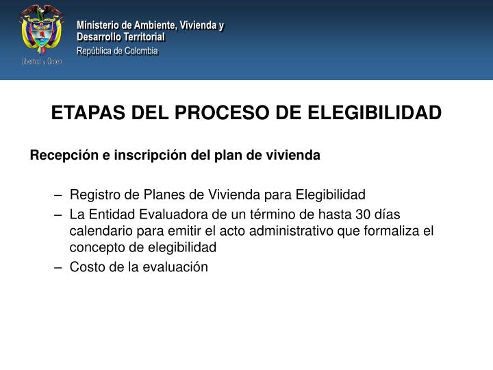 ETAPAS DEL PROCESO DE ELEGIBILIDAD
