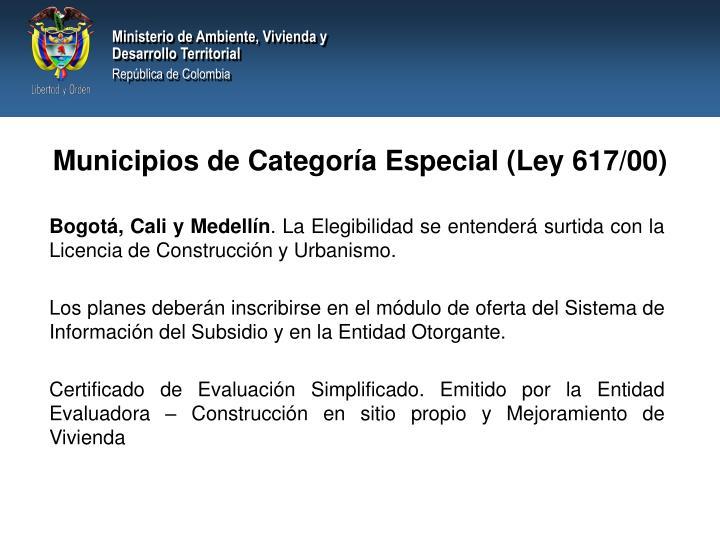 Municipios de Categoría Especial (Ley 617/00)