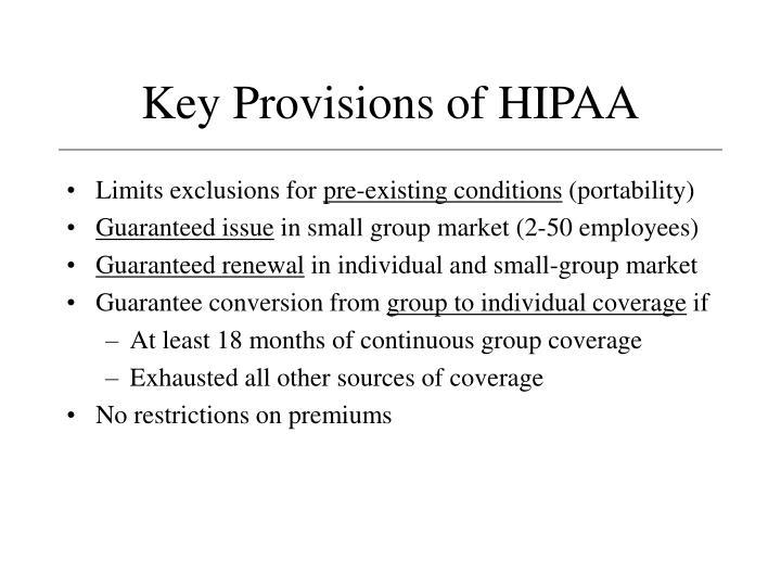 Key Provisions of HIPAA