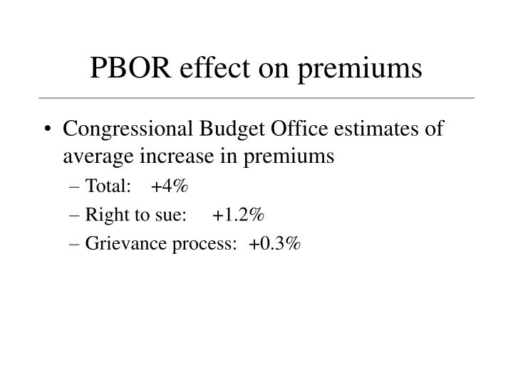 PBOR effect on premiums