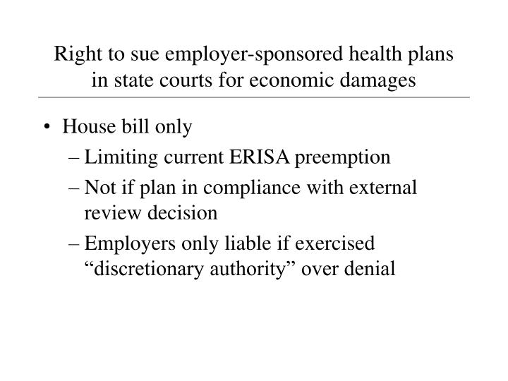 Right to sue employer-sponsored health plans in state courts for economic damages
