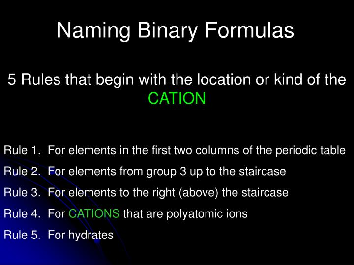 Naming Binary Formulas