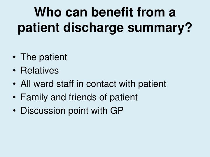 Ppt - Critical Care Patient Discharge Summaries Powerpoint