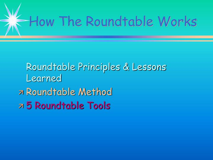 Roundtable Principles & Lessons Learned