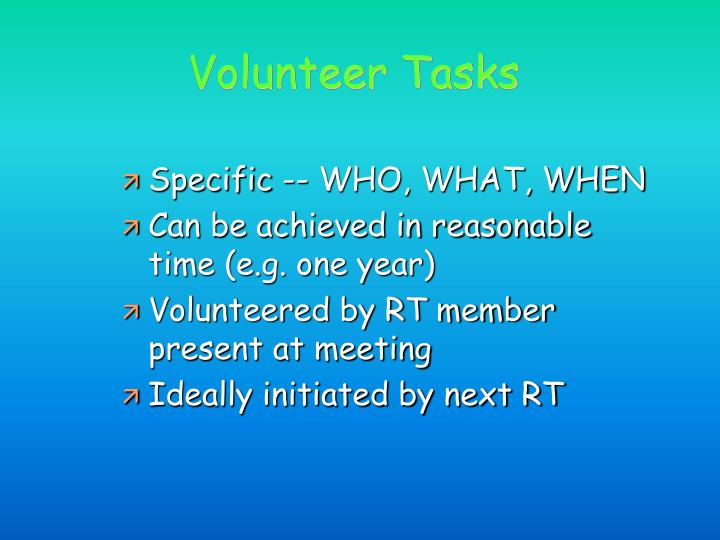 Volunteer Tasks