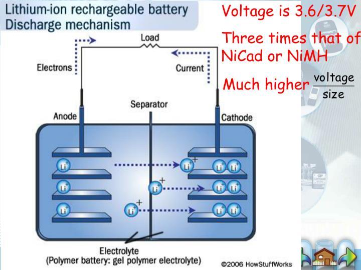 Voltage is 3.6/3.7V