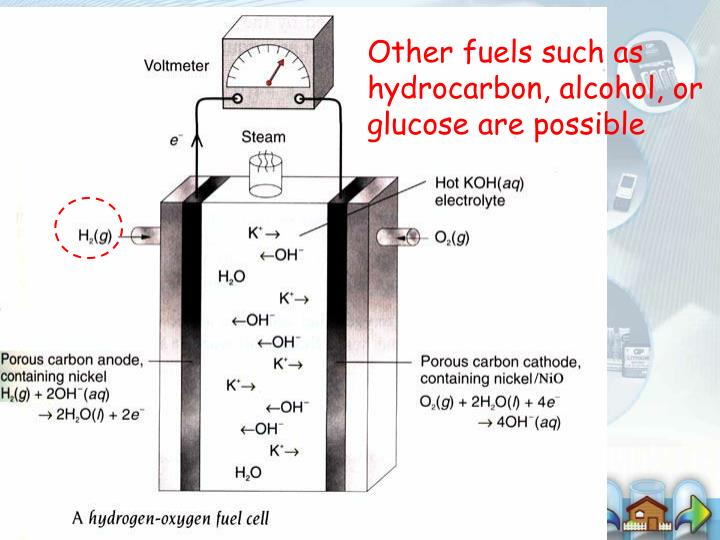 Other fuels such as hydrocarbon, alcohol, or glucose are possible