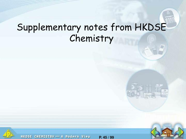 Supplementary notes from HKDSE Chemistry