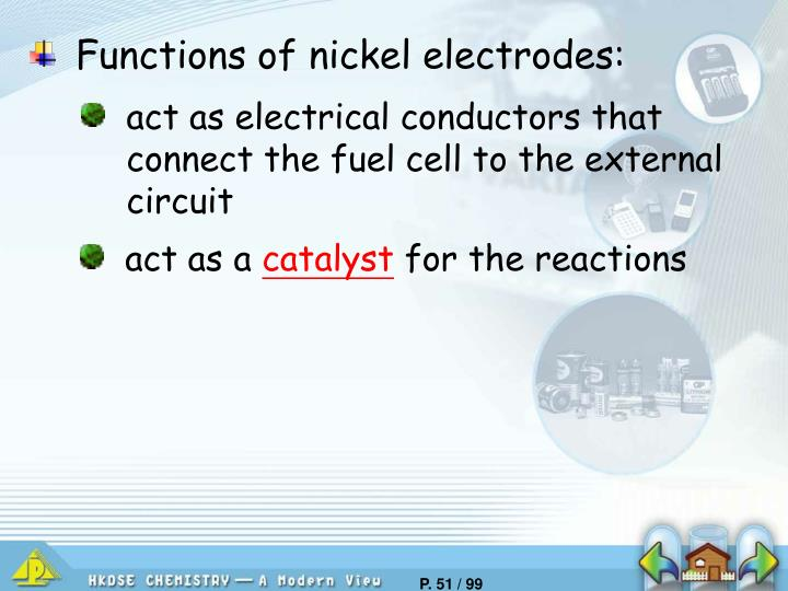 Functions of nickel electrodes: