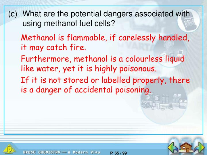 (c)	What are the potential dangers associated with using methanol fuel cells?