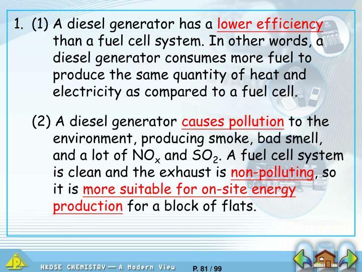 1.(1) A diesel generator has a