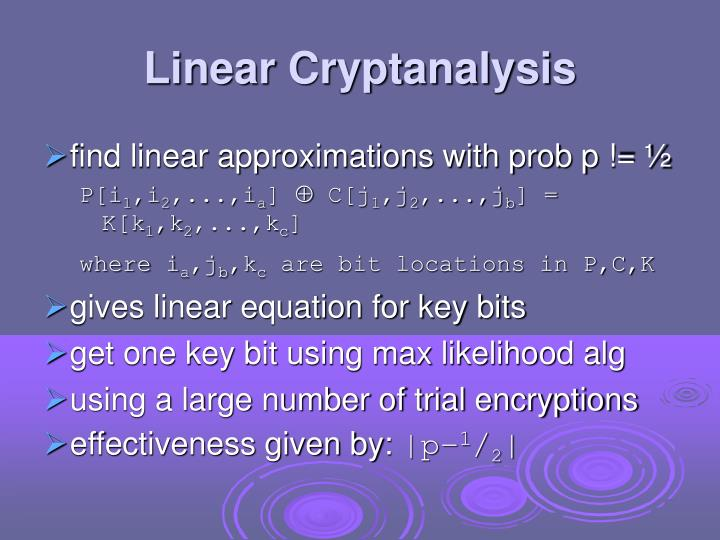 Linear Cryptanalysis