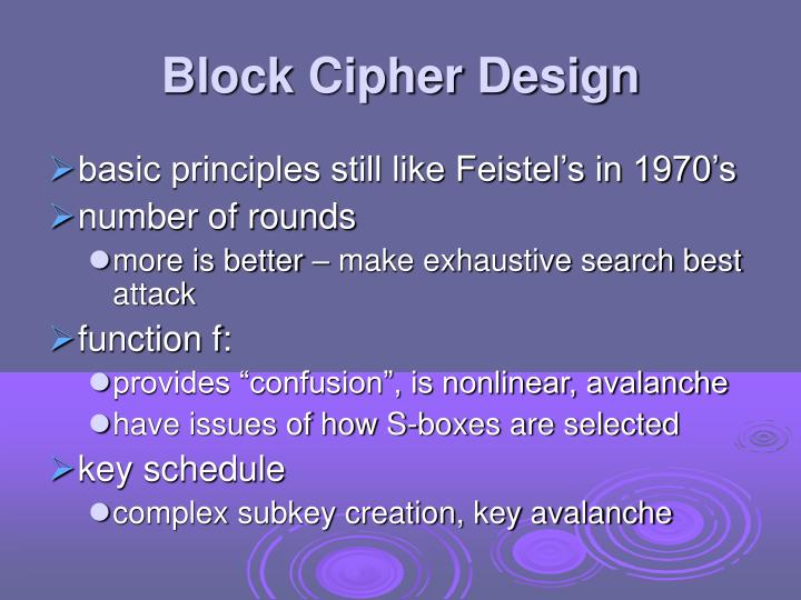 Block Cipher Design