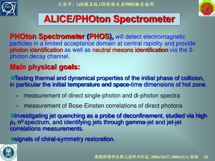 ALICE/PHOton Spectrometer