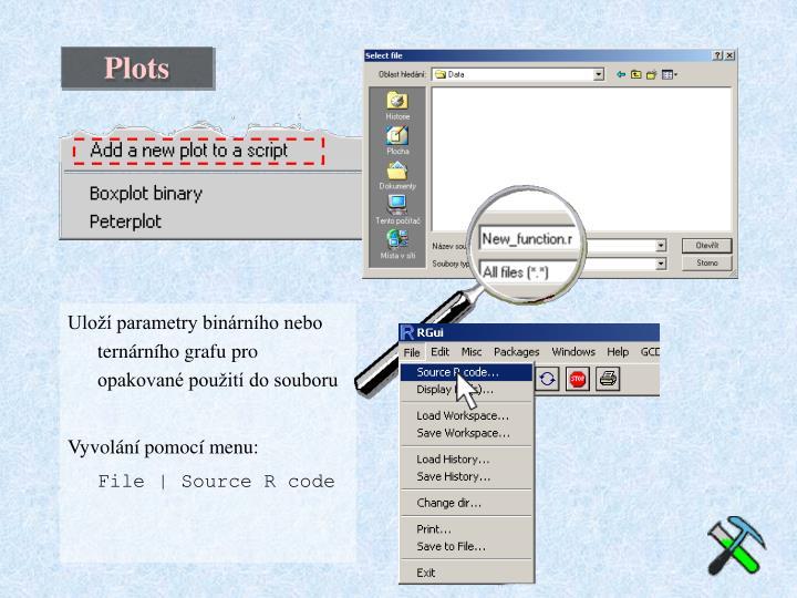 Uloží parametry binárního nebo ternárního grafu pro opakované použití do souboru
