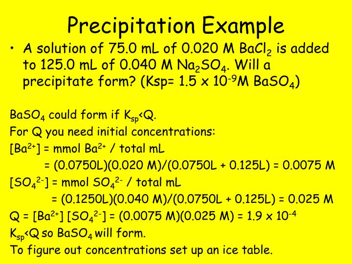Precipitation Example