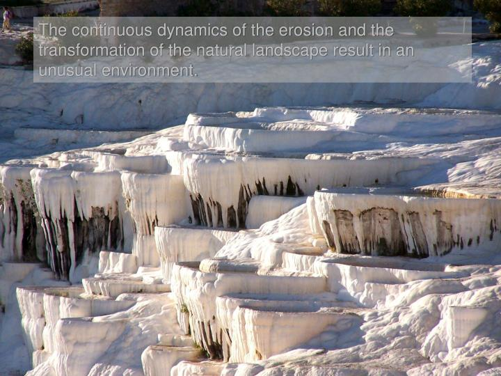 The continuous dynamics of the erosion and the transformation of the natural landscape result in an unusual environment.