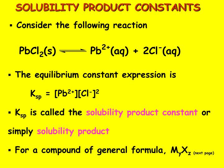 SOLUBILITY PRODUCT CONSTANTS