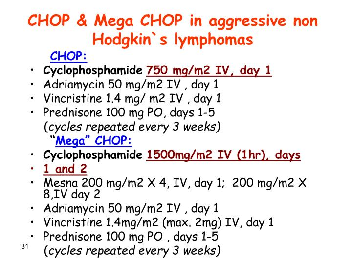CHOP & Mega CHOP in aggressive non Hodgkin`s lymphomas
