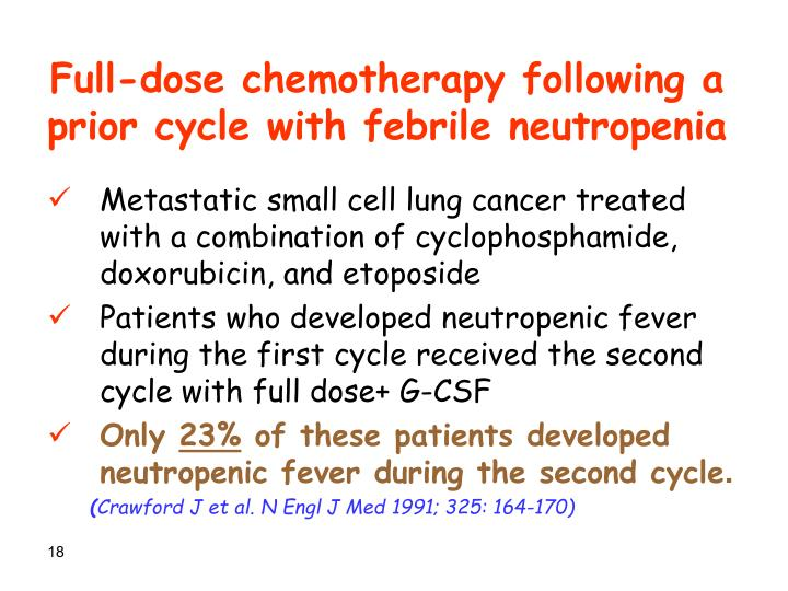 Full-dose chemotherapy following a prior cycle with febrile neutropenia