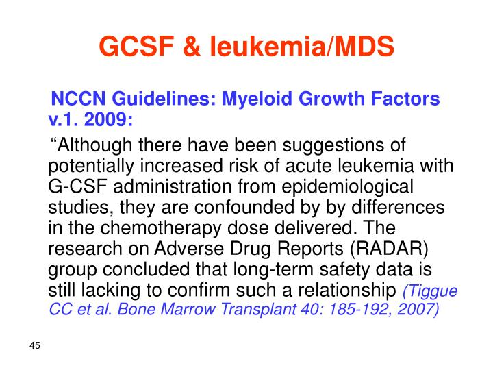 GCSF & leukemia/MDS