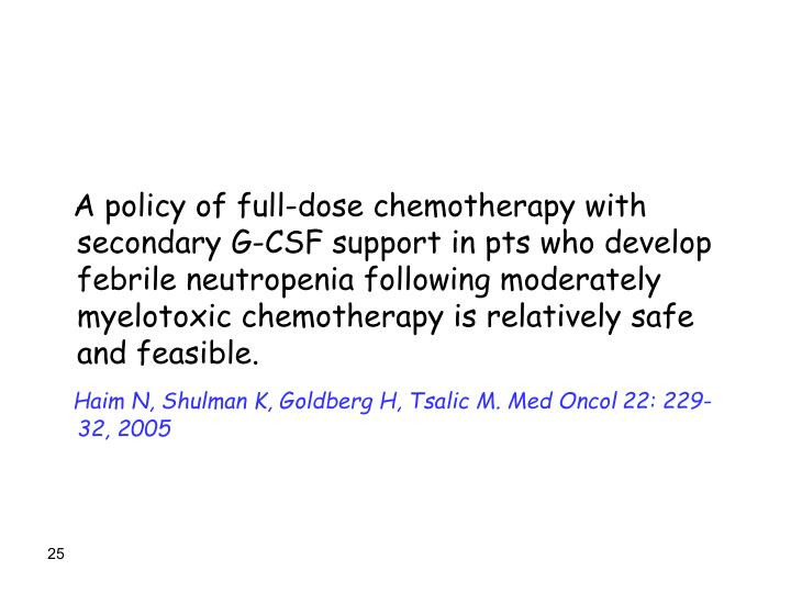 A policy of full-dose chemotherapy with secondary G-CSF support in pts who develop febrile neutropenia following moderately myelotoxic chemotherapy is relatively safe and feasible.