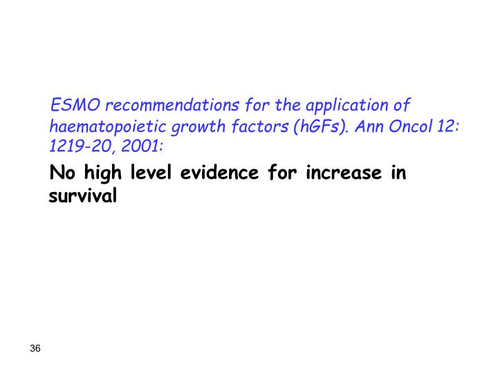 ESMO recommendations for the application of haematopoietic growth factors (hGFs). Ann Oncol 12: 1219-20, 2001: