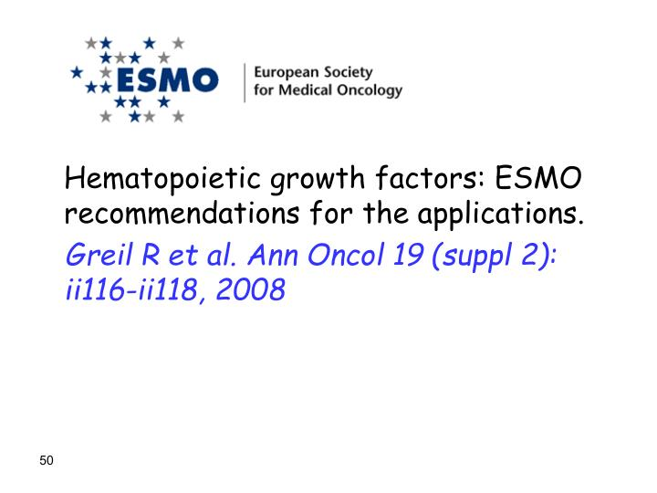 Hematopoietic growth factors: ESMO recommendations for the applications.