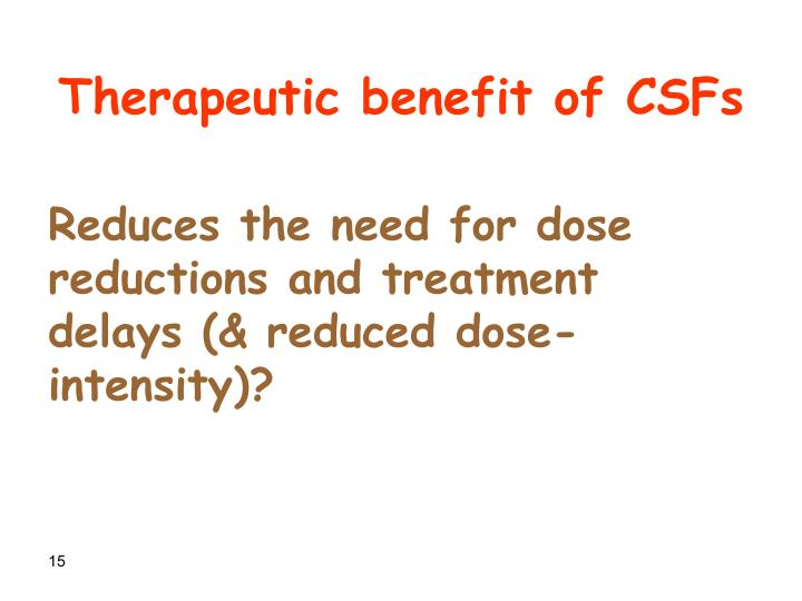 Therapeutic benefit of CSFs