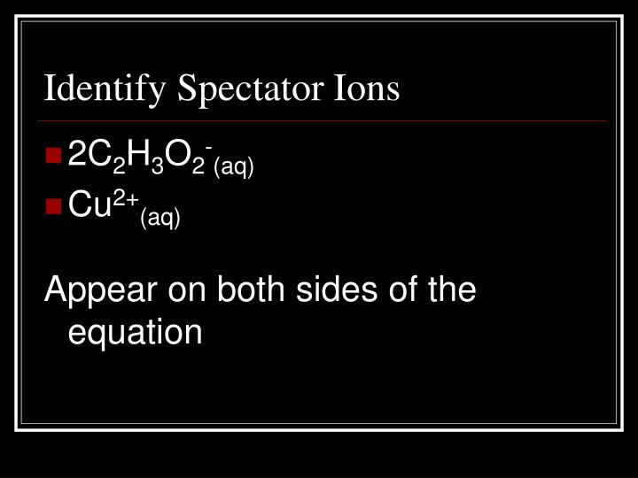 Identify Spectator Ions