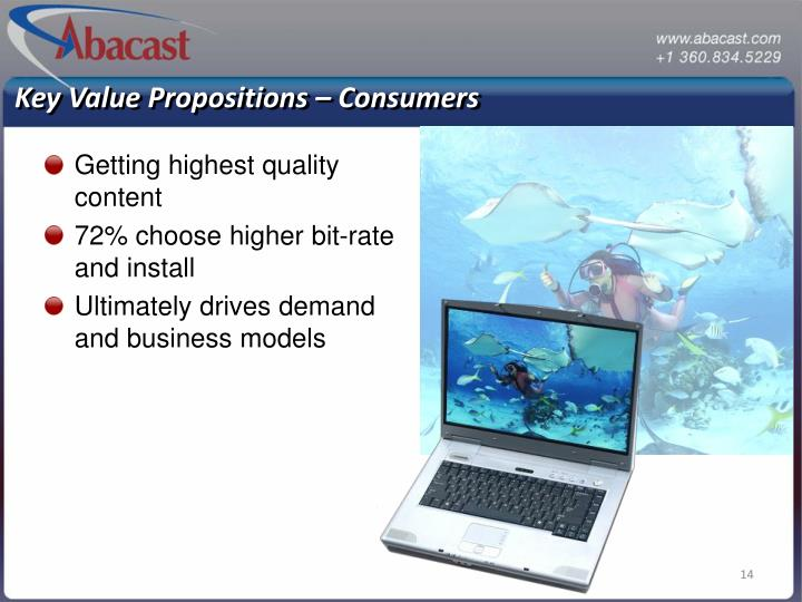 Key Value Propositions – Consumers